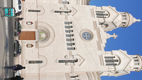 Vertical video. Valdese Evangelical church at Piazza Cavour. church was founded Live Action