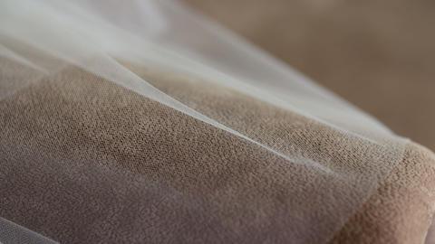 Wedding veil on bed Archivo