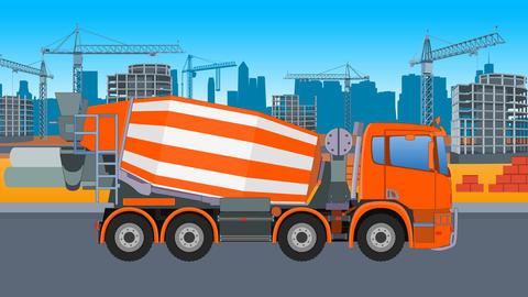 Concrete Mixer Truck City Animation