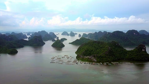 Aerial View UNESCO World Heritage Site Ha Long Bay Islands Live Action