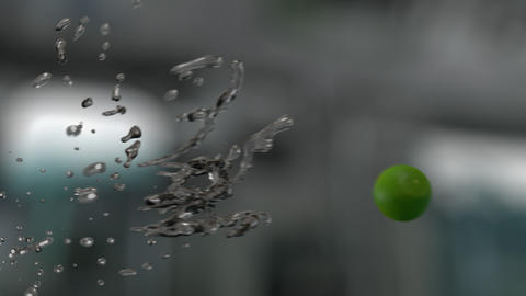 Water Splashing Lime (With Background) GIF