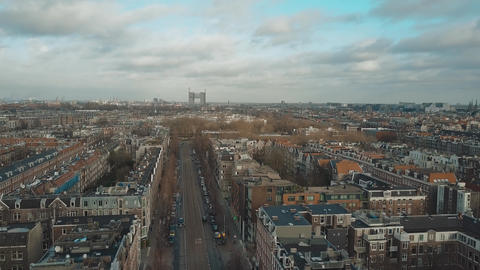 Aerial view of typical street in Amsterdam, Netherlands Footage