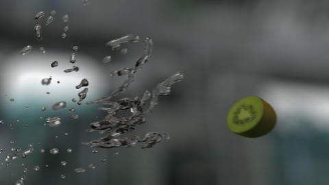 Water Splashing Sliced Kiwi (With Background) GIF