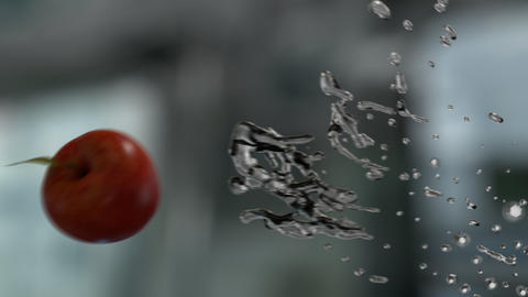 Water Splashing Apple (With Background) Footage