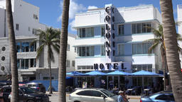 USA Florida Miami Beach the famous Art Deco Colony Hotel at 736 Ocean Drive Footage