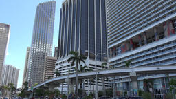 USA Florida Miami Biscayne Boulevard skyscraper & Metromover public transport 画像