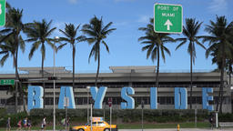 USA Florida Miami Bayside inscription in big letters on Biscayne Boulevard Footage