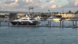 USA Florida Port of Miami motor yachts and MacArthur Causeway highway Footage