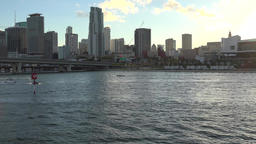 USA Florida Port of Miami the skyline of downtown seen from Biscayne Bay Footage