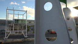 USA Florida Port of Miami cruise ship while leaving its berth Filmmaterial