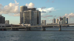 USA Florida Miami Marriott Hotel Biscayne Bay and MacArthur Causeway Footage