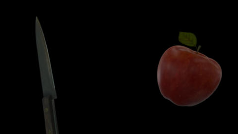 Knife Slicing Apple (On Transparent Background) GIF