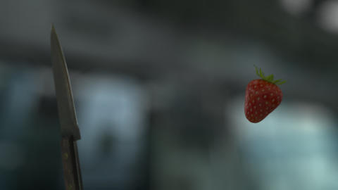Knife Slicing Strawberry (With Background) GIF