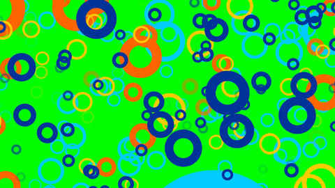Flying multicolored circles, particles zooming on green screen, FullHD video Animation