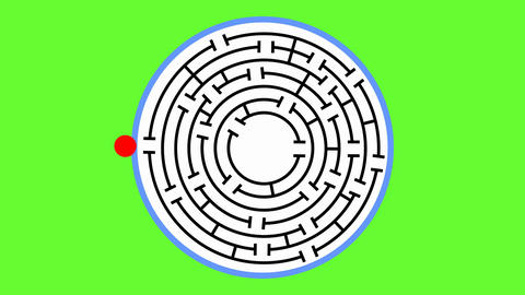 Animated maze. The red object comes to the middle of the maze and changes into CG動画素材