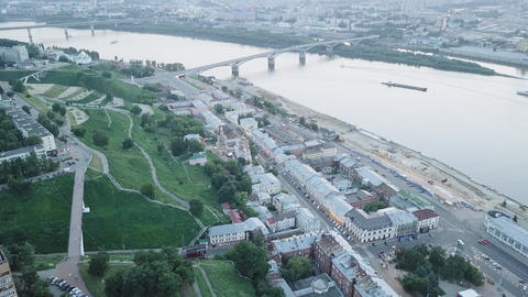 Aerial view of Kanavinsky Bridge across the Oka river from the river side during Live Action