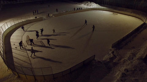 Game going on at a local hockey rink in Finland Footage