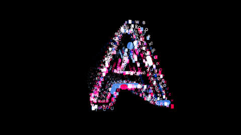 Letters are collected in latin letter A, then scattered into strips. Bright Animation