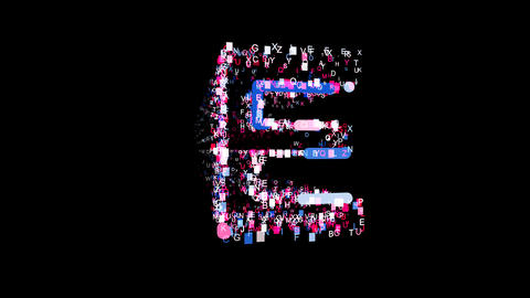 Letters are collected in latin letter E, then scattered into strips. Bright Animation