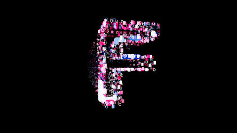 Letters are collected in latin letter F, then scattered into strips. Bright Animation