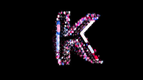 Letters are collected in latin letter K, then scattered into strips. Bright Animation