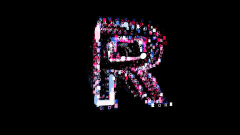 Letters are collected in latin letter R, then scattered into strips. Bright Animation