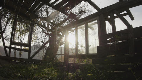 The wooden house wholly destroyed and destroyed by the wind of loneliness at Footage