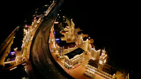 View at night from the air. Rosa Khutor, Krasnaya Polyana. Sochi, Russia, From Footage