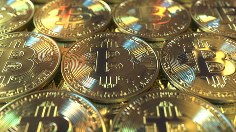 Multiple Bitcoin coins Live Action