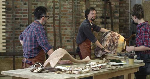 Wooden Furniture Restoration Workshop Footage