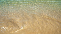 Ocean Waves Splashing Yellow Sand Beach Archivo