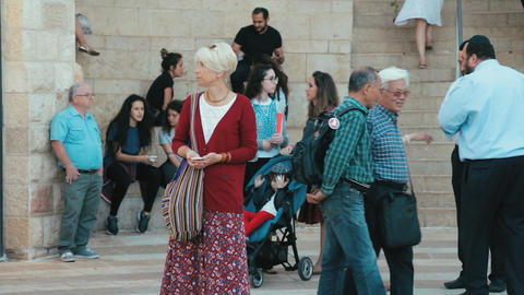 Jerusalem, Israel - May 11, 2017: Shoppers and tourists at Mamilla shopping Footage