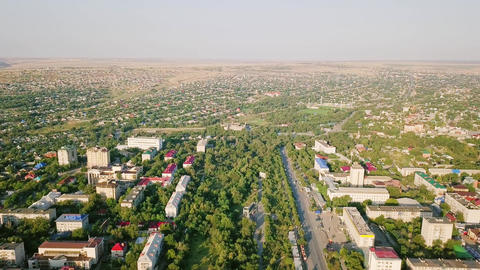 Panoramic view of the city of Elista, Kalmykia, Russia, From Dron Footage
