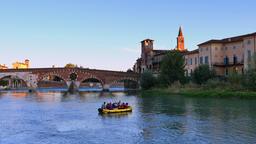 Ponte Pietra on the River Adige, Verona Footage