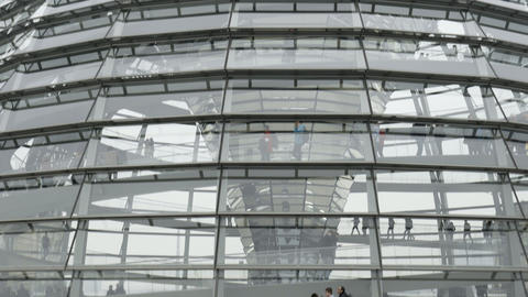 Interior of German Reichstag Parliament glass structure... Stock Video Footage