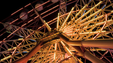 Ferris wheel at night in the city Batumi, Georgia Filmmaterial