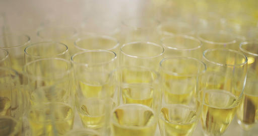 Champagne. many champagne Flutes with Sparkling Champagne Footage