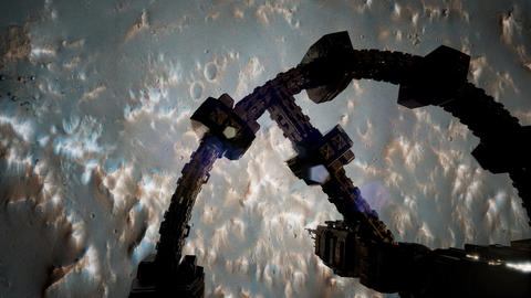 Top view of Surveyor spacecraft above Mar ビデオ