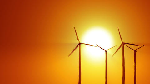 Wind power at sunrise Animation