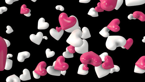Falling hearts with alpha channel Filmmaterial
