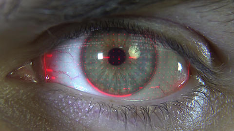 Close-up eye with red hologram Animation