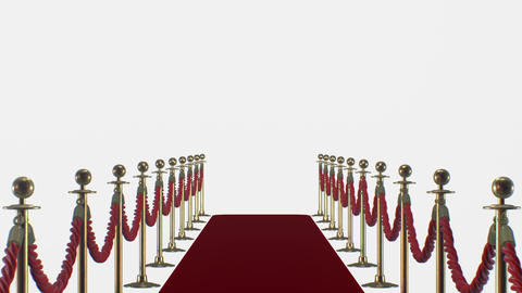 Red carpet on a white background Stock Video Footage