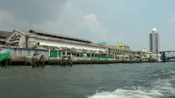 Thailand Bangkok 090 fast ride, interesting shore of Chao Phraya River Footage