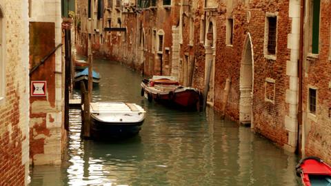 Gondola and boat on canal - Venice, Venezia Live Action