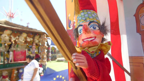 Close up of Punch puppet at a fair Footage