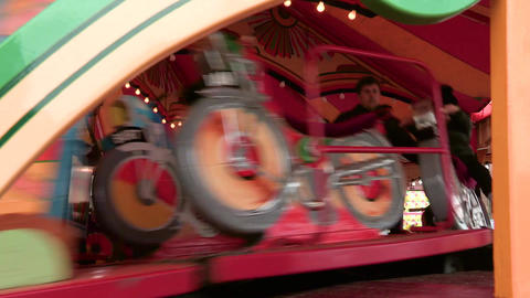 Red and green fair ground ride Footage