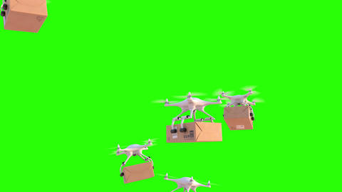 Quadcopters deliver packages Animation