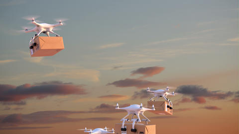 Quadcopters deliver packages against time-lapse sky background Animation