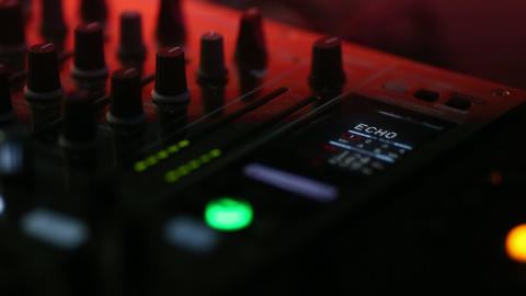 Audio control panel close-up at the concert during the performance. The buttons Footage