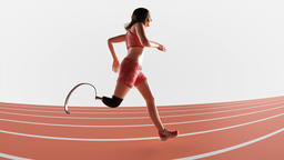 Physically challenged female athlete with prosthetic leg runs on a track Animation